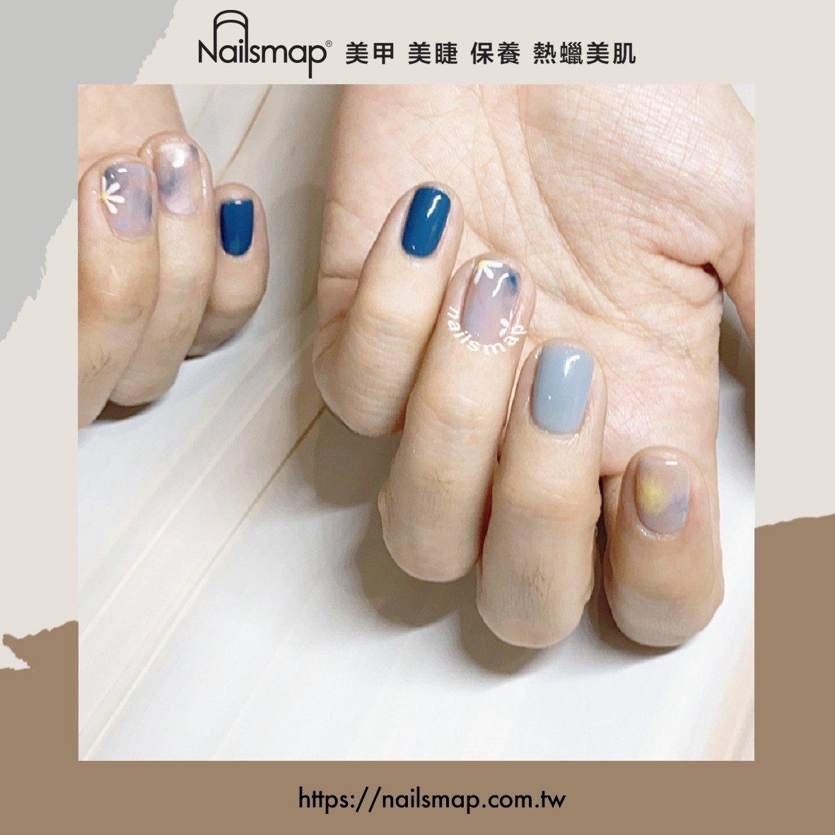 質感滿分的灰藍色美甲,不挑膚色又顯白